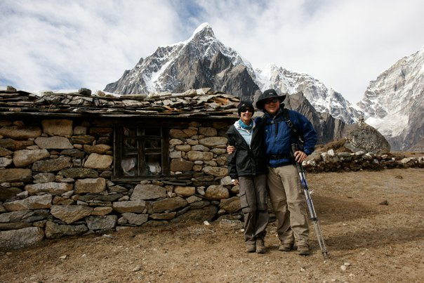 Aaron and Debbie on a charity trek to Everest Base Camp for Rainbow House